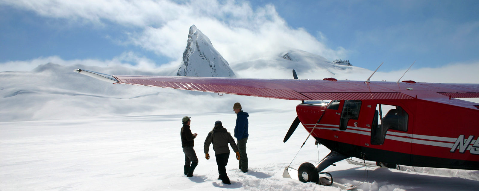 Ski plane landing on the glacier