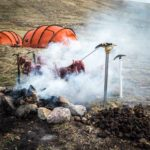 Splitboard expedition Mongolia - Smoking our meat over a fire of horse shit